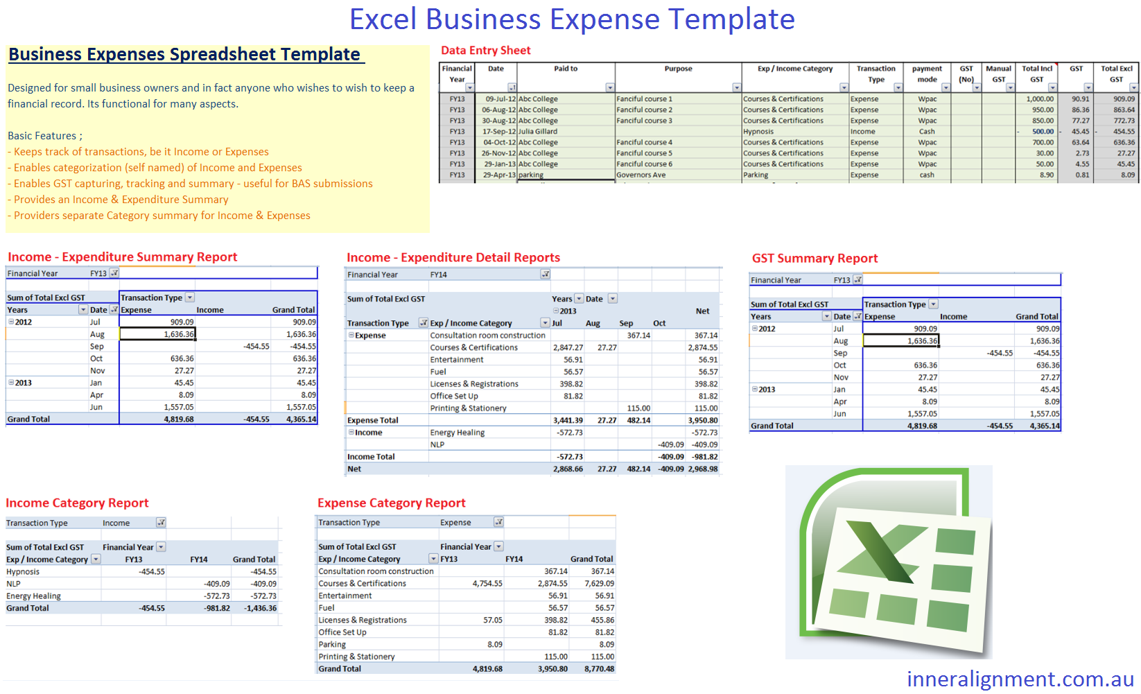 excel free business expense template inner alignment perth